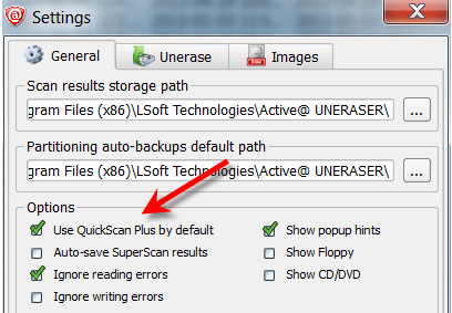 Use QuickScan Plus by default option